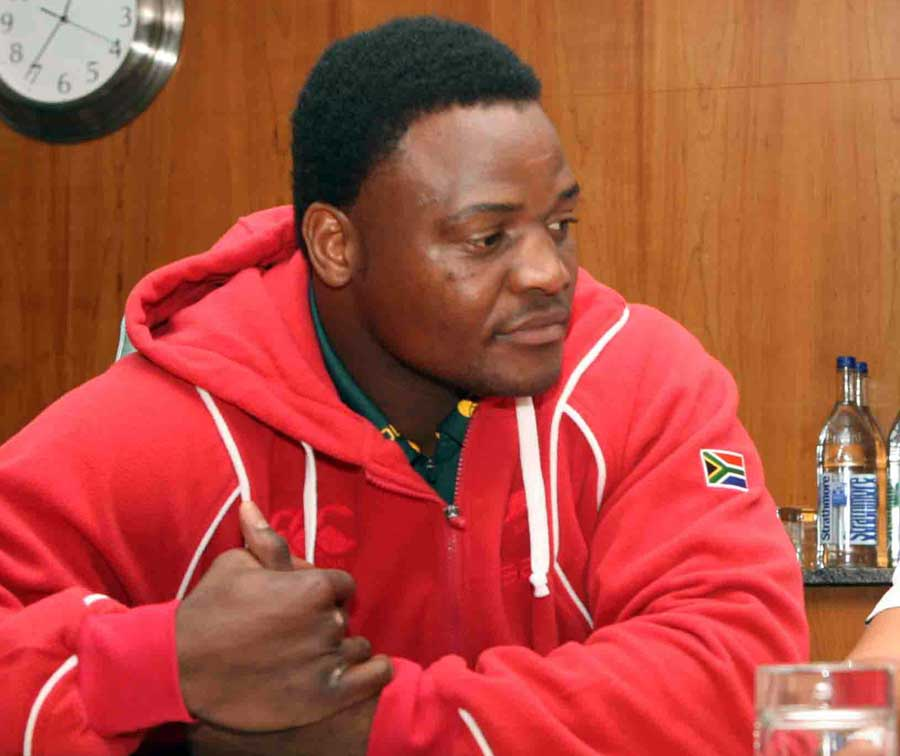 South Africa's Chiliboy Ralepelle speaks to the media