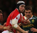 Wales flanker Ryan Jones looks for support