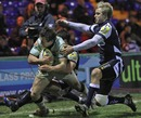 Northampton's Jamie Elliott closes in to score