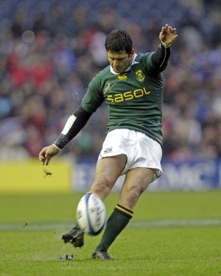 Springbok fly-half Morne Steyn kicks a penalty
