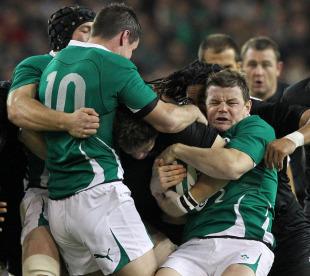 Brian O'Driscoll fights for possession of the ball, Ireland v New Zealand, Aviva Stadium, Dublin, Ireland, November 20, 2010