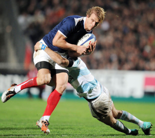 Aurelien Rougerie is snared in a tackle, France v Argentina, Mosson Stadium, Montpellier, France, November 20, 2010