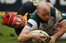 London Irish scrum-half Paul Hodgson scores a try
