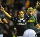 Scotland skipper Rory Lawson celebrates victory over South Africa