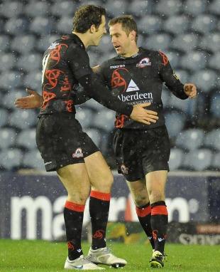 Edinburgh's Chris Paterson is congratulated on a try, Edinburgh v Connacht, Magners League, Murrayfield, Edinburgh, November 26, 2010
