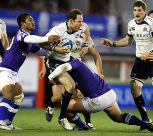Graeme Morrison looks for the offload, Scotland v Samoa, Pittodrie, Aberdeen, Scotland, November 27, 2010