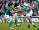 Argentina's Rodrigo Roncero is tackled by Ireland's David Wallace