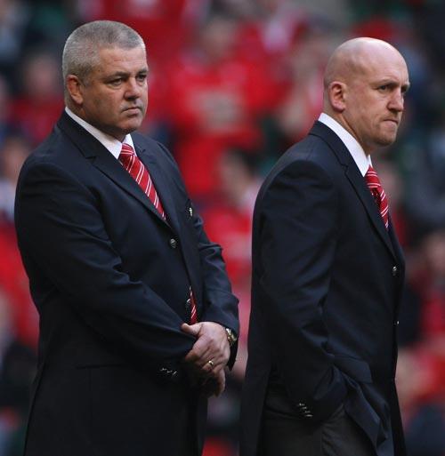 Wales head coach Warren Gatland and assistant Shaun Edwards