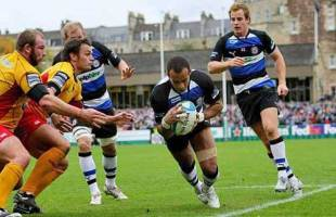 Bath's Andrew Higgins dives in to score in his side's Heineken Cup clash with Newport Gwent Dragons at The Rec on October 19, 2008