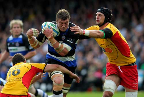 Bath's Peter Short is tackled