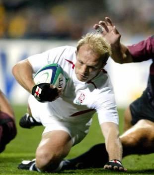 England scrum-half Matt Dawson crosses to score, England v Georgia, World Cup, Subiaco Oval, October 12 2003