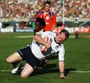 Frazer Harkness dives over for Scotland