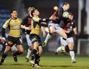 Scrum-half David Blair claims the high ball