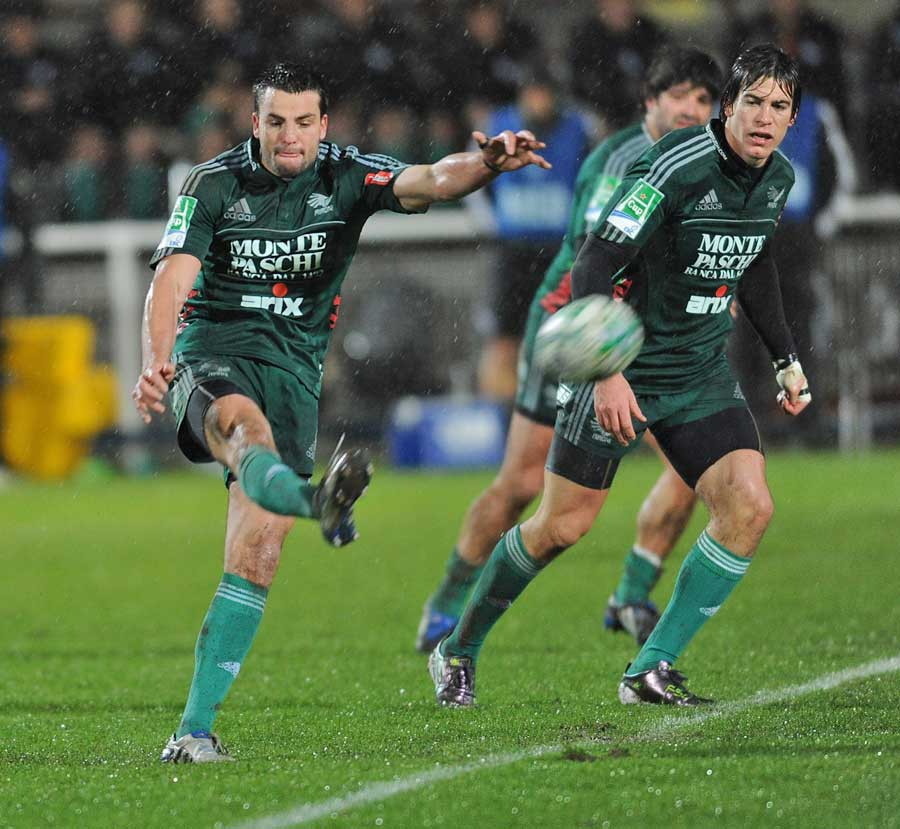 Aironi's Riccardo Bocchino kicks off