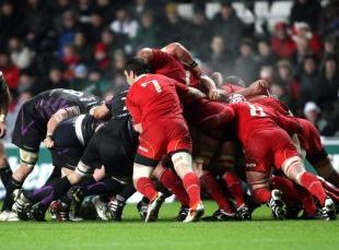 The Munster scrum buckles under pressure, Ospreys v Munster, Heineken Cup, Liberty Stadium, Swansea, Wales, December 18, 2010