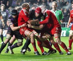 Ospreys lock Alun-Wyn Jones closes in on the line, Ospreys v Munster, Heineken Cup, Liberty Stadium, Swansea, Wales, December 18, 2010