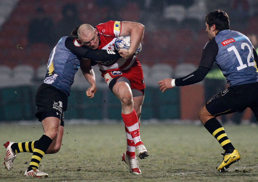Gloucester centre Mike Tindall tries to break the gain-line