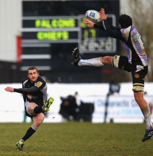 Newcastle fly-half Jeremy Manning lands a drop goal, Newcastle Falcons v Exeter Chiefs, Amlin Challenge Cup, Netherdale, Galashiels, Scotland, December 19, 2010