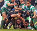 Aironi's Tito Tebaldi stretches to score a try