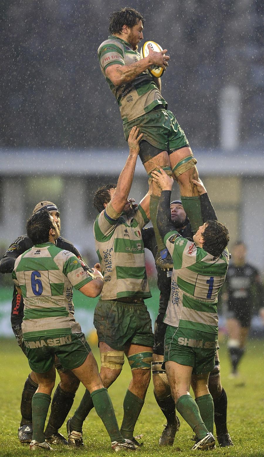 Treviso's Antonio Pavanello claims a lineout