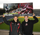 Edinburgh's Greig Laidlaw and Tim Visser pose at Murrayfield