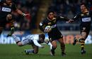 London Wasps wing David Lemi skips past Newcastle's Jeremy Manning
