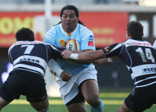 Perpignan's Henry Tuilagi braces himself for impact