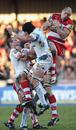 Gloucester's Charlie Sharples claims a high ball