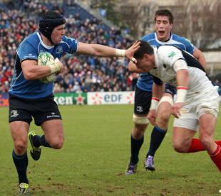 Leinster's Shane Jennings fends off Saracens' Nils Mordt, Leinster v Saracens, Heineken Cup, RDS, Dublin, Ireland, January 15, 2011