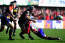Scarlets flanker Rob Mc Cusker offloads under pressure