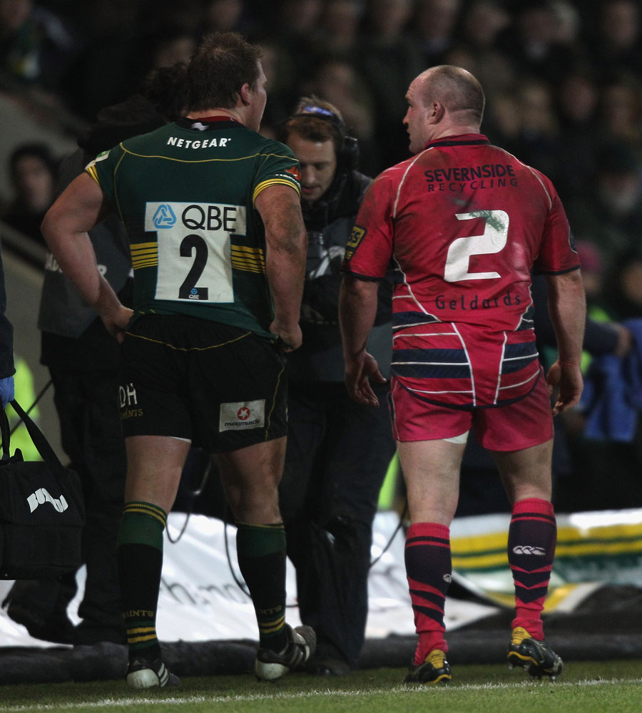Hookers Dylan Hartley and Gareth Williams walk to the sin bin