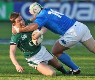 Ireland's Ronan O'Gara is tackled by Italy's Carlo Festuccia, Italy v Ireland, Six Nations, Stadio Flaminio, Rome, Italy, February 15, 2009