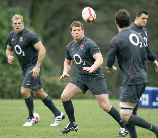 Dylan Hartley receives a pass at an England training session, Pennyhill Park, Bagshot, England, February 2, 2011