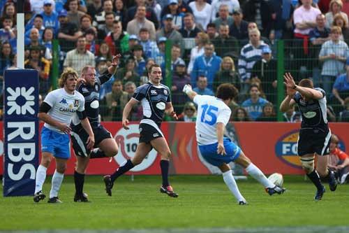 Andrea Marcato kicks a drop goal