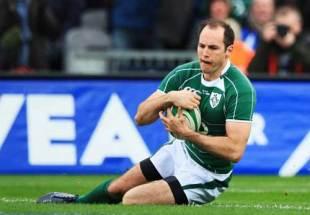 Ireland full-back Girvan Dempsey collects Ronan O'Gara's cross kick to score, Ireland v Italy, Six Nations, Croke Park, February 2 2008