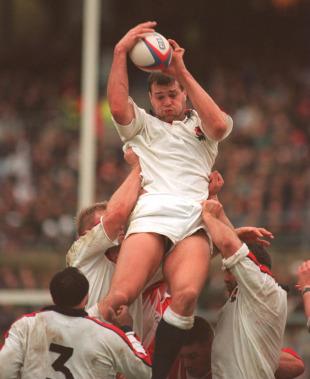 England lock Martin Bayfield claims a lineout, England v Canada, Twickenham, England, December 10, 1994