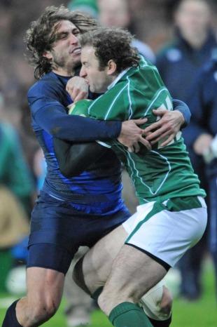 France's Maxime Medard wraps up Ireland's Geordan Murphy, Ireland v France, Six Nations, Croke Park, Dublin, Ireland, February 7, 2009