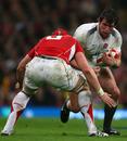 England flanker Tom Wood takes on Alun-Wyn Jones