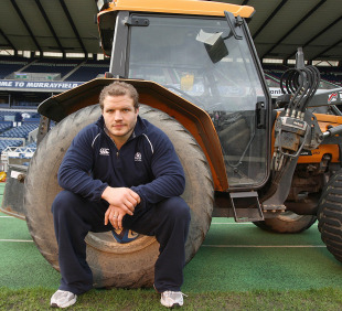 Scotland prop Euan Murray poses at Murrayfield, Edinburgh, Scotland, February 9, 2011