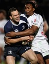 Aironi's Danwell Demas tackles Leinster's Dave Kearney