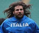 Italy prop Martin Castrogiovanni warms up at Twickenham