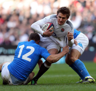 England fly-half Toby Flood is halted, England v Italy, Six Nations, Twickenham, London, England, February 12, 2011