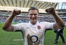 England's Chris Ashton celebrates victory over Italy