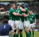 Ireland wing Fergus McFadden is congratulated after scoring