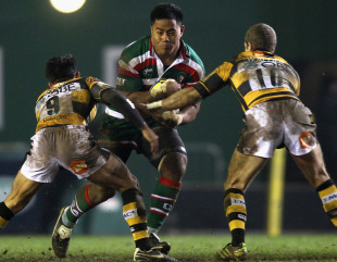 Leicester centre Manu Tuilagi carries the ball into the Wasps' defence, Leicester Tigers v London Wasps, Aviva Premiership, Welford Road, Leicester, England, February 19, 2011
