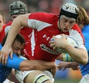 Wales' Ryan Jones takes the battle to Italy