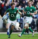 Ireland fly-half Ronan O'Gara races round to score