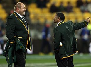 Os du Randt and Peter De Villiers enjoy a joke before kick-off, New Zealand v South Africa, Tri-Nations, Westpac Stadium, Wellington, New Zealand, July 17, 2010