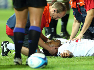 Sharks wing Odwa Ndungane receives treatment after being spear tackled