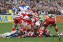 Gloucester scrum-half Rory Lawson fires a pass